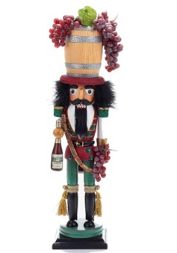 "18.9"" Holly Wood Wood Wine Barrel Hat Nutcracker"