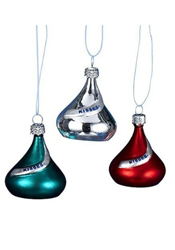 "1.5"" Hershey's Miniature Kisses 6 Piece Glass Ornament"