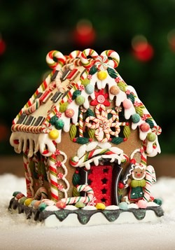 "8"" Claydough Gingerbread House w/ Lights"