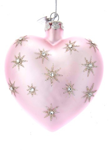 "3"" Noble Gems Pink Heart w/ Silver Stars Glass Ornament"