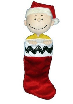 "21"" Charlie Brown Plush Head Christmas Stocking"