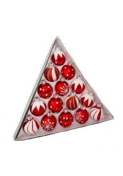 "1.5"" Red/White Deco Glass Ball Ornaments 15pc Set"