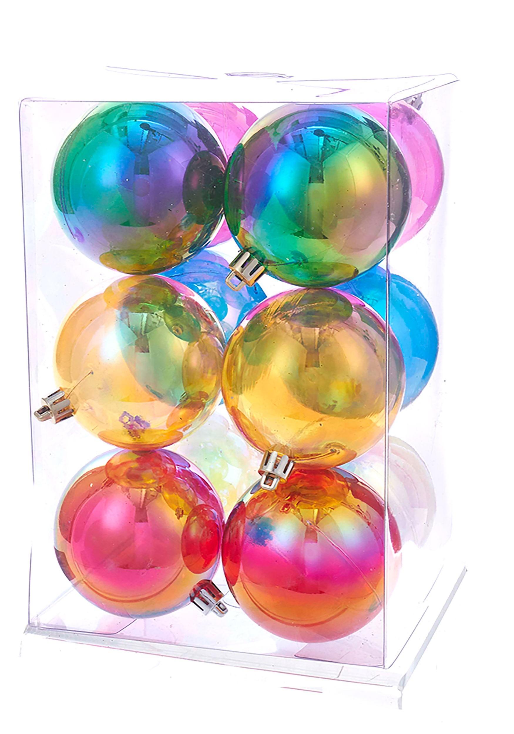 plastic iridescent 12pc ball ornament set