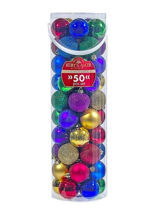 50 pc Multicolor Shatterproof Christmas Ornament Ball Set