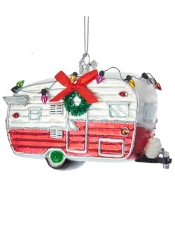 Glass Camping Car Christmas Ornament