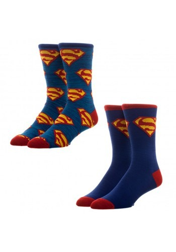 Superman 2 Pack Crew Socks