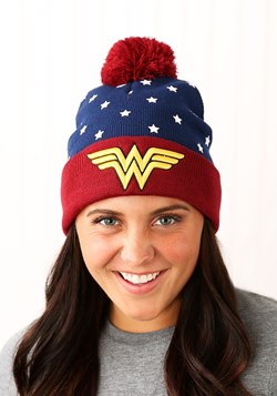 DC Wonder Woman Navy Red Gold Jr's Cuffed Knit Hat