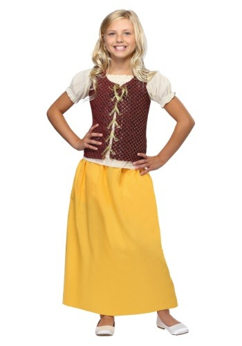 Red Peasant Dress For Girls