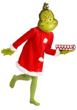 Child The Grinch Santa Deluxe Costume with Mask Alt 1