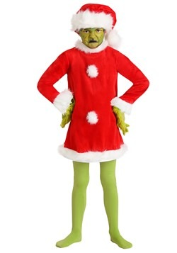Child The Grinch Santa Deluxe Costume with Mask Alt 2