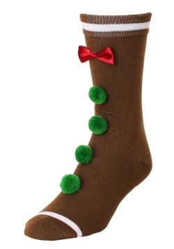 3D Novelty Gingerbread Man Crew Socks2