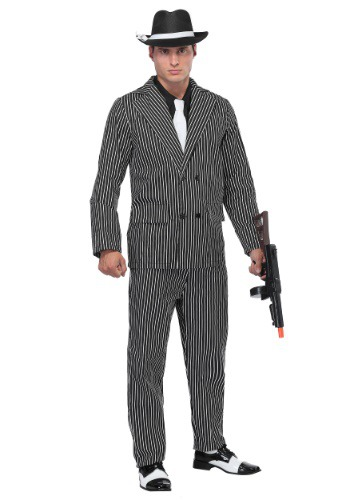 Wide Pin Stripe Gangster Mens Costume