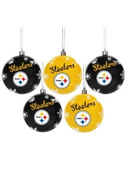 Pittsburgh Steelers 5 Pack Shatterproof Ball Ornament Set