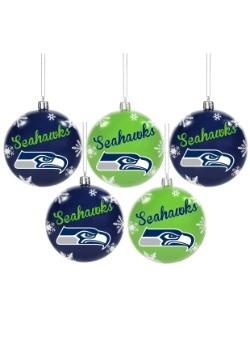Seattle Seahawks 5 Pack Shatterproof Ball Ornament Set