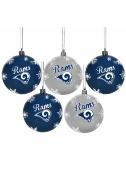Los Angeles Rams 5 Pack Shatterproof Ball Ornament Set