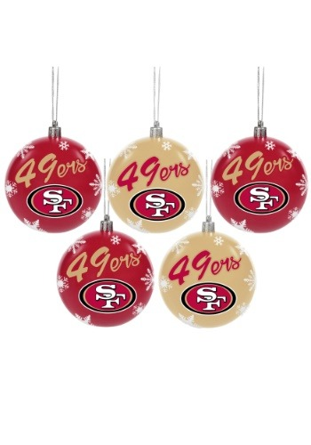 San Francisco 49ers 5 Pack Shatterproof Ball Ornament Set