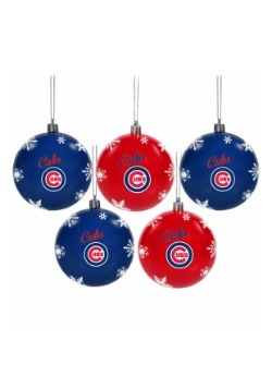 Chicago Cubs 5 Pack Shatterproof Ball Ornament Set