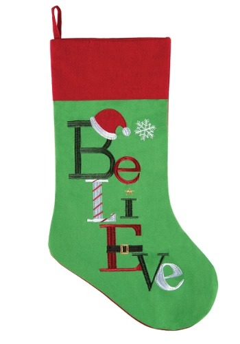 Embroidered Believe Christmas Stocking