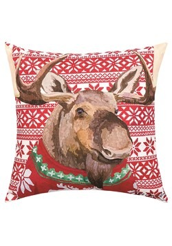 Moose Christmas Sweater Holiday Pillow