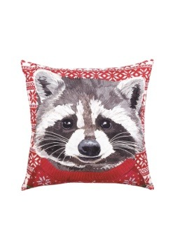 Christmas Sweater Holiday Pillow - Raccoon