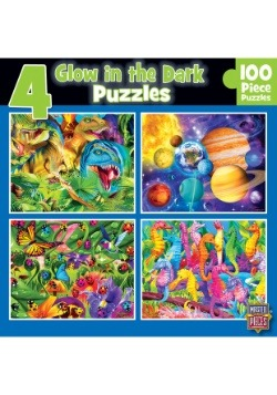 MasterPieces Glow-In-The-Dark 100 Piece Puzzle 4-Pack