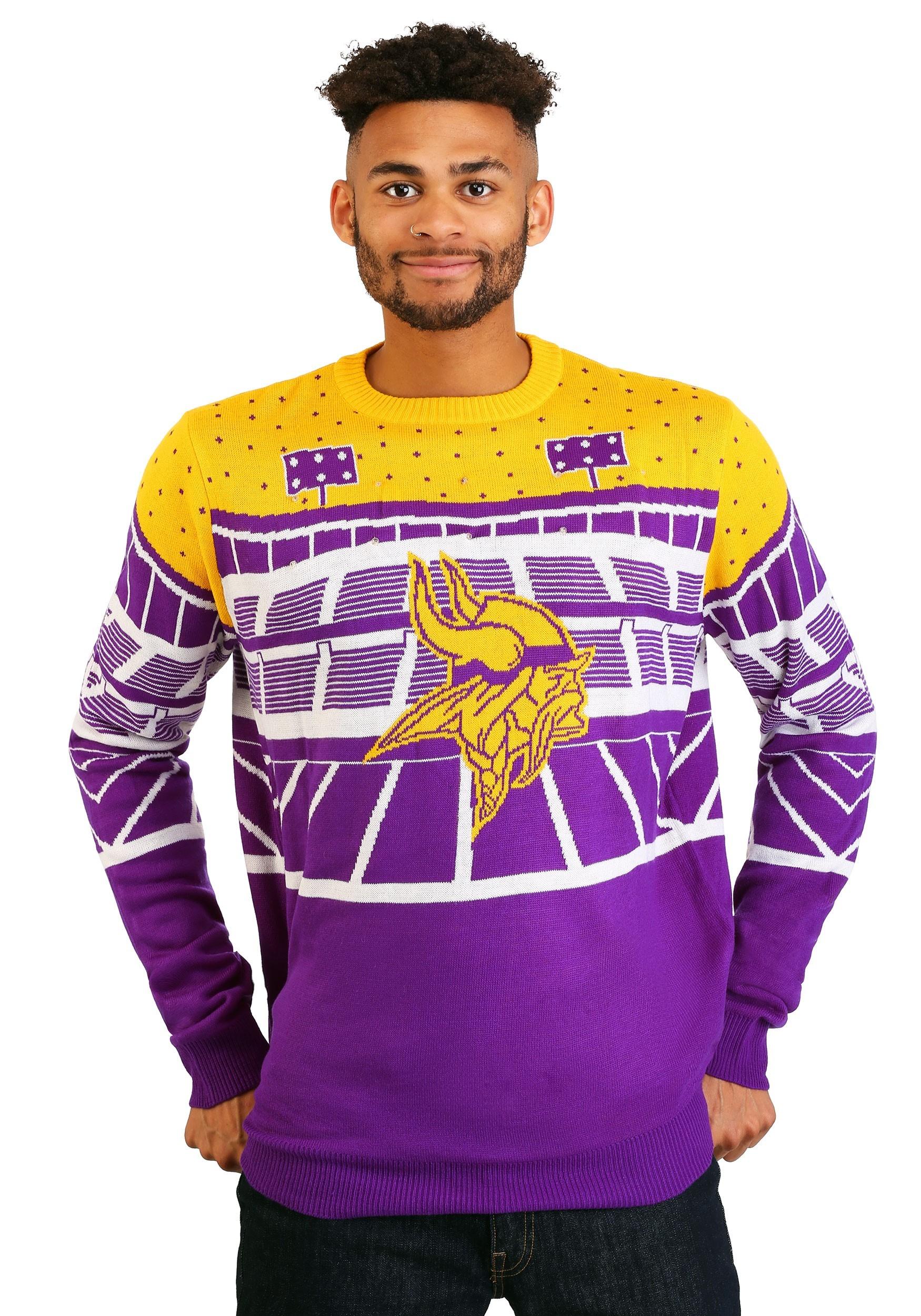 3933db51bd4 Minnesota Vikings Bluetooth Light Up Ugly Christmas Sweater