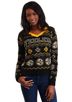Womens Pittsburgh Steelers Light Up V-Neck Bluetooth Sweater