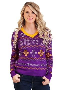 Minnesota Vikings Women's Light Up V-Neck Bluetooth Sweater