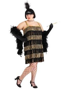 Gold and Black Fringe Flapper Plus Size Costume Main Update1