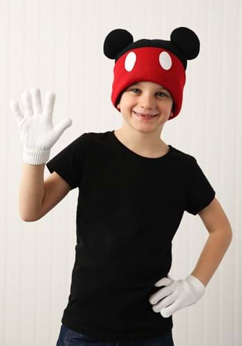 Mickey Mouse Knit Cuff Beanie w/ Gloves Set