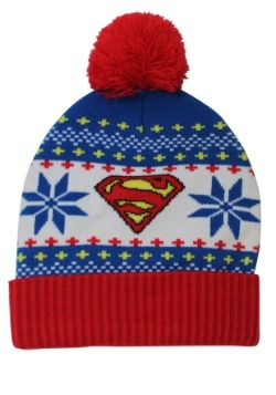 Superman Fair Isle Cuff Pom Beanie