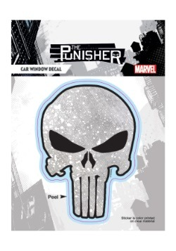 Punisher Weathered Dotted Gray Skull Window Decal