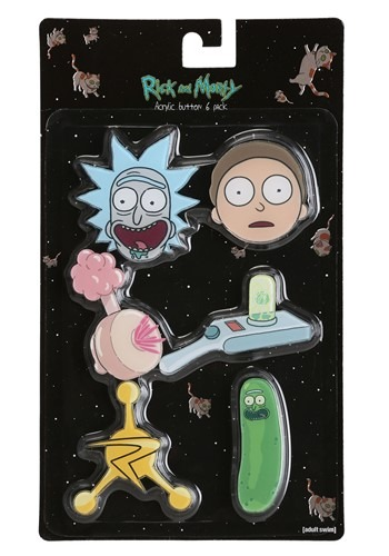 6 PCS RICK AND MORTY ACRYLIC BUTTON / PIN SET
