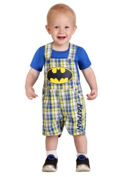 Infant Boy's Batman Plaid Shortall Set