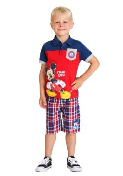 Toddler Boy's Mickey Mouse All Ears Polo and Plaid Short Set