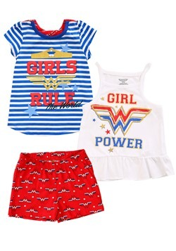 DC Comics Wonder Woman 3 Piece Girl's Rule Short Set