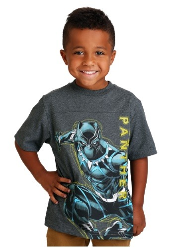 Black Panther Boy's Gray/Yellow T-Shirt