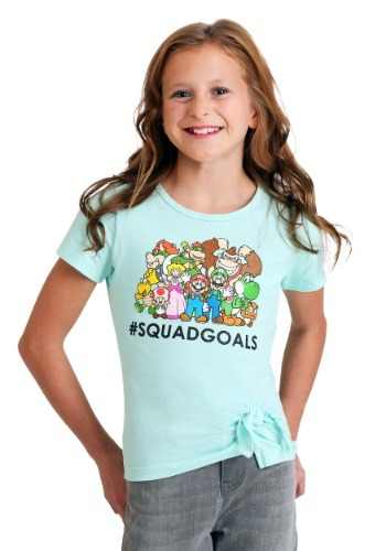 Girl's Super Mario #SquadGoals Teal T-Shirt