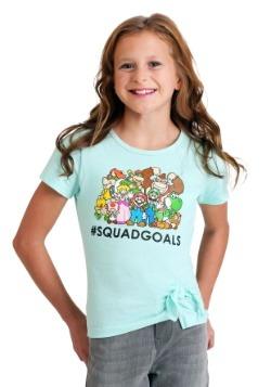 Girl's Super Mario #SquadGoals Teal T-Shirt