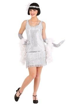 Vibrant Silver Plus Size Flapper Dress Costume