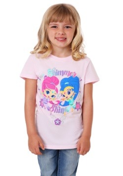 Girls Kid's Shimmer and Shine Silver Glitter T-Shirt