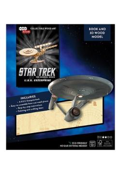 Star Trek U.S.S. Enterprise 3D Wood Model & Book