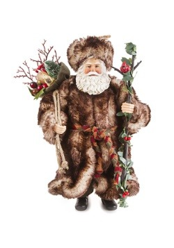 "Santa In Woodland Fur Coat 10.5"" Figurine"