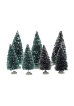 Mini Sisal Snowy Green Christmas Trees- Set of 7