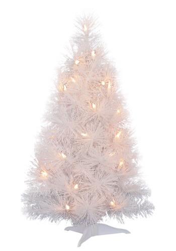 "24"" Iridescent White Christmas Tree with Lights"