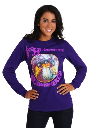 Jimi Hendrix Womens Long Sleeve Purple T-Shirt