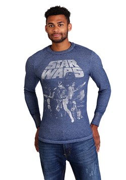 Star Wars: A New Hope Poster Mens Navy Heather Burnout