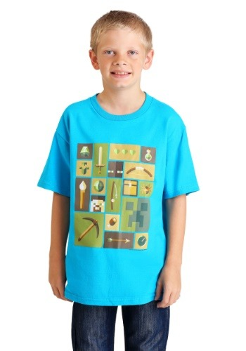 Boys Minecraft Explorer Inventory Turquoise T-Shirt