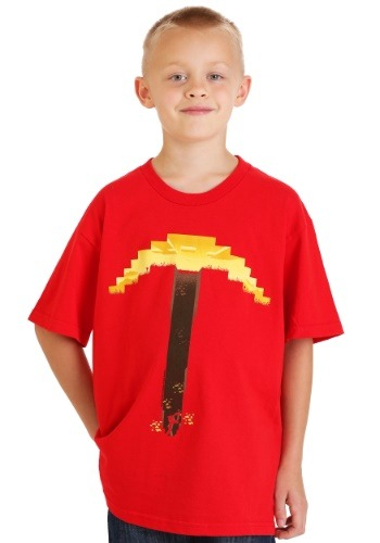 Minecraft Digitized Pickaxe Red T-shirt