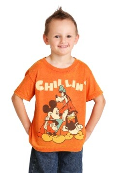 Disney Mickey Mouse Chillin Trio Boys Orange Burnout T-Shirt
